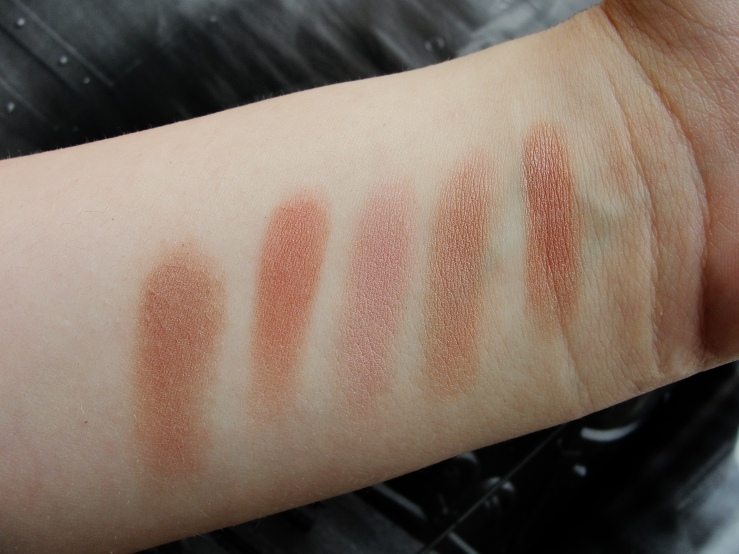 L-R: L'Oreal Nude Pink, Hourglass Mood Exposure, Max Factor Lavish Mauve, Max Factor Nude Mauve, Chanel Accent