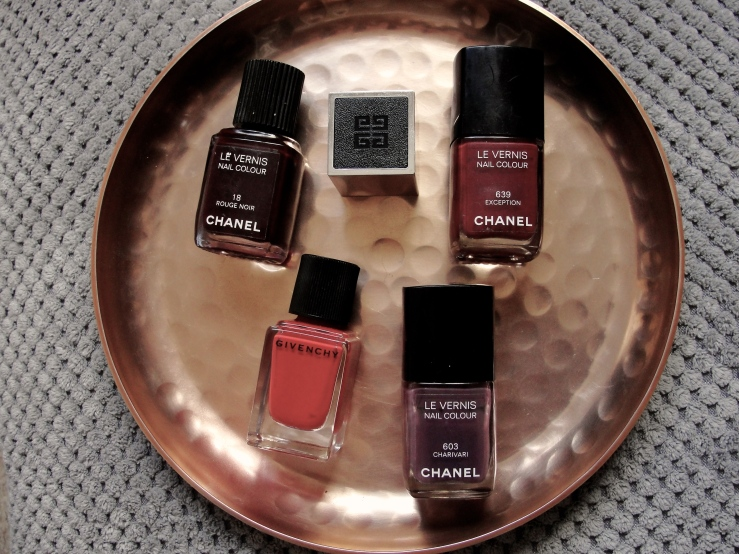 Chanel Charivari, Chanel Rouge Noir, Chanel Exception, Givenchy Rouge Acajou