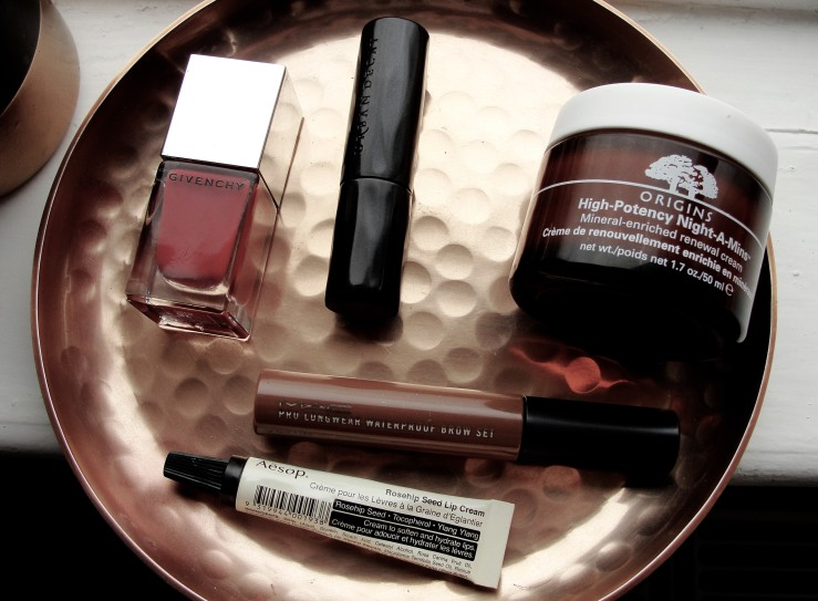 Givenchy Rouge Acajou, Urban Decay 1993, Aesop, Mac Red Chestnut, Origins Night-a-mins