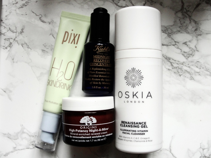 Oskia Renaissance Cleansing Gel, Origins Night-a-mins, Pixi Skindrink, Kiehl's Midnight Recovery